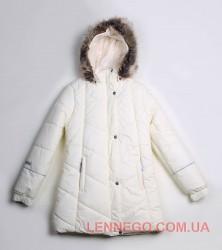 Зимнее пальто для девочки lenne pealry молочное