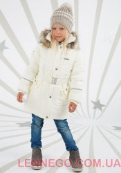 Зимнее пальто для девочки Lenne Sheryl 18335/100 молочное