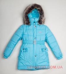 Зимнее пальто для девочки Lenne Sheryl 18335/405 бирюзовое