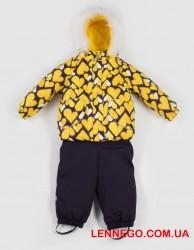 Зимний комплект для девочки (куртка+полукомбинезон) lenne elsa 19318a/1090 жёлтый