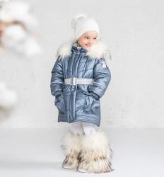 Lenne Milla пальто для девочки тёмный металлик
